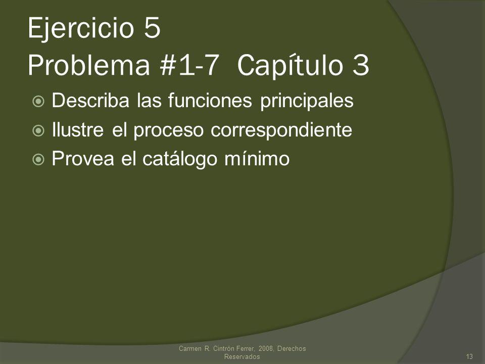 Ejercicio 5 Problema #1-7 Capítulo 3 Describa las funciones principales Ilustre el proceso correspondiente Provea el catálogo mínimo Carmen R.