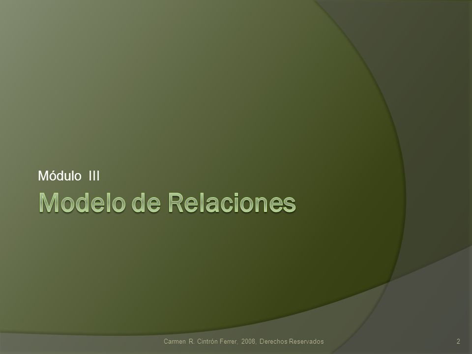 Carmen R. Cintrón Ferrer, 2008, Derechos Reservados2 Módulo III