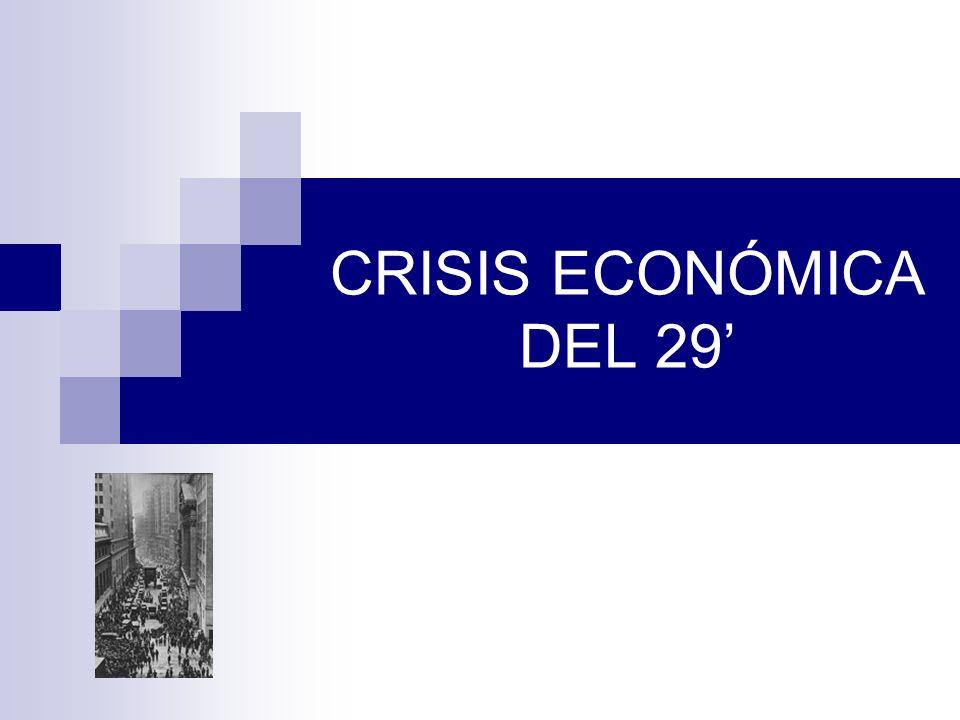 Efectos Mundiales En el orden industrial 1932: la producción retrocede un 40% respecto a 1929.