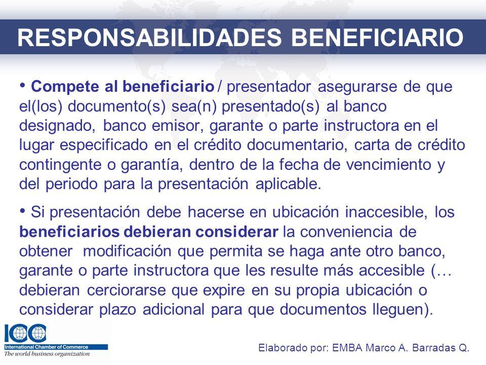 BANCO DESIGNADO Y COBRANZAS En presentación conforme ante banco designado, el banco emisor o garante está obligado a honrar cuando reciba docs.