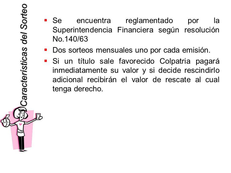 Características del Sorteo Características del Sorteo Se encuentra reglamentado por la Superintendencia Financiera según resolución No.140/63 Dos sorteos mensuales uno por cada emisión.