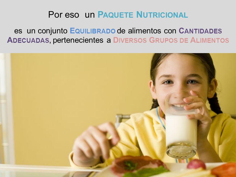 Por eso un P AQUETE N UTRICIONAL es un conjunto E QUILIBRADO de alimentos con C ANTIDADES A DECUADAS, pertenecientes a D IVERSOS G RUPOS DE A LIMENTOS