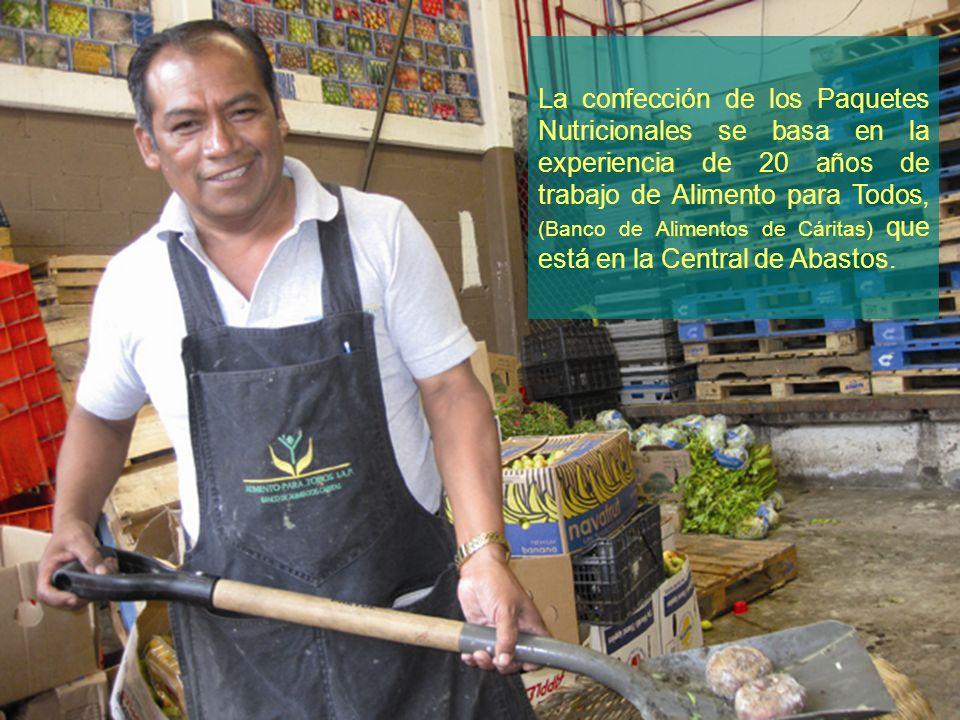 La confección de los Paquetes Nutricionales se basa en la experiencia de 20 años de trabajo de Alimento para Todos, (Banco de Alimentos de Cáritas) qu