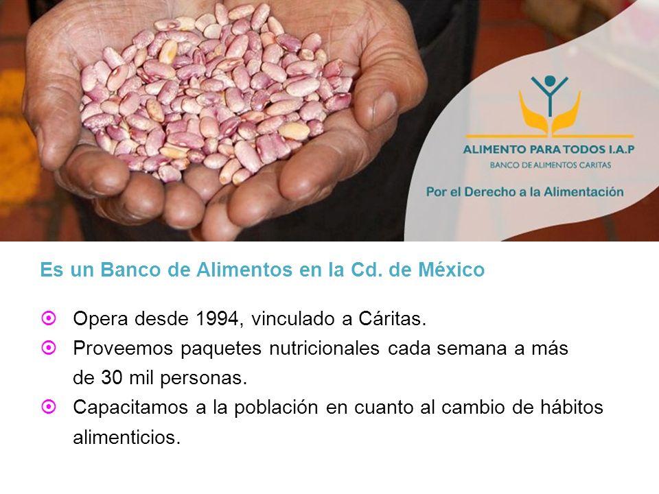 Es un Banco de Alimentos en la Cd. de México Opera desde 1994, vinculado a Cáritas. Proveemos paquetes nutricionales cada semana a más de 30 mil perso