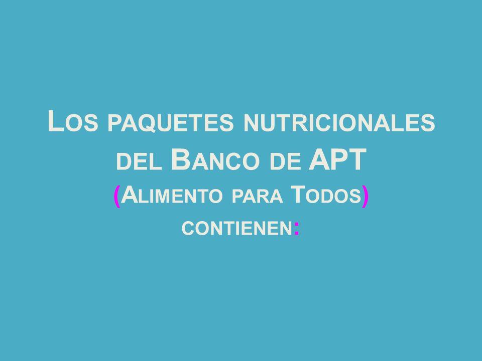 L OS PAQUETES NUTRICIONALES DEL B ANCO DE APT (A LIMENTO PARA T ODOS ) CONTIENEN :