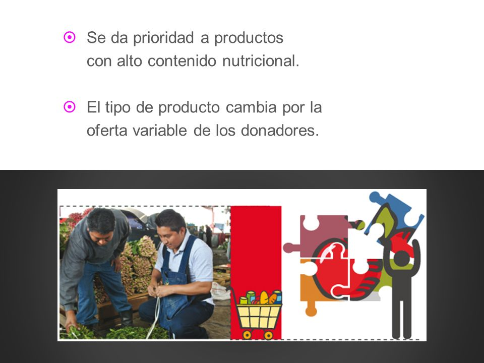 Se da prioridad a productos con alto contenido nutricional. El tipo de producto cambia por la oferta variable de los donadores.