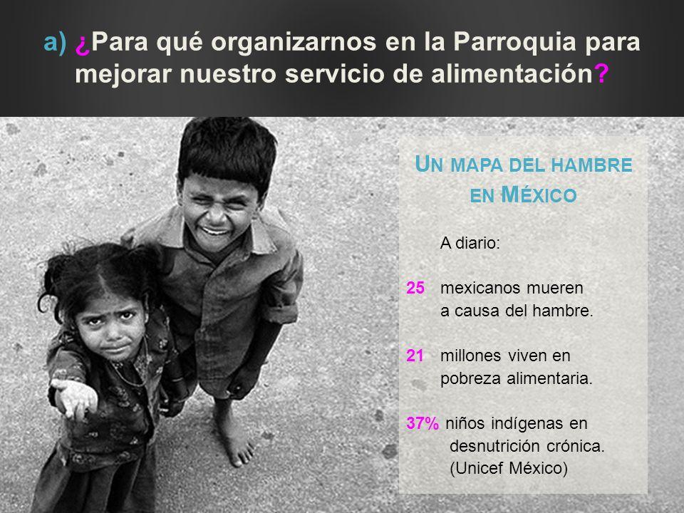 a) ¿Para qué organizarnos en la Parroquia para mejorar nuestro servicio de alimentación? U N MAPA DEL HAMBRE EN M ÉXICO A diario: 25mexicanos mueren a