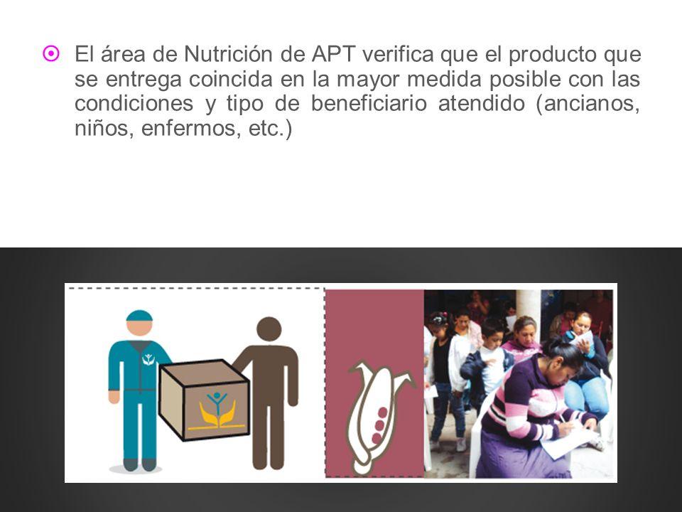 El área de Nutrición de APT verifica que el producto que se entrega coincida en la mayor medida posible con las condiciones y tipo de beneficiario ate