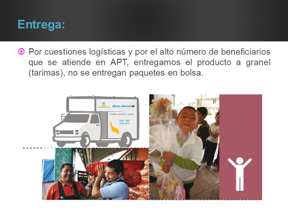 Entrega: Por cuestiones logísticas y por el alto número de beneficiarios que se atiende en APT, entregamos el producto a granel (tarimas), no se entre