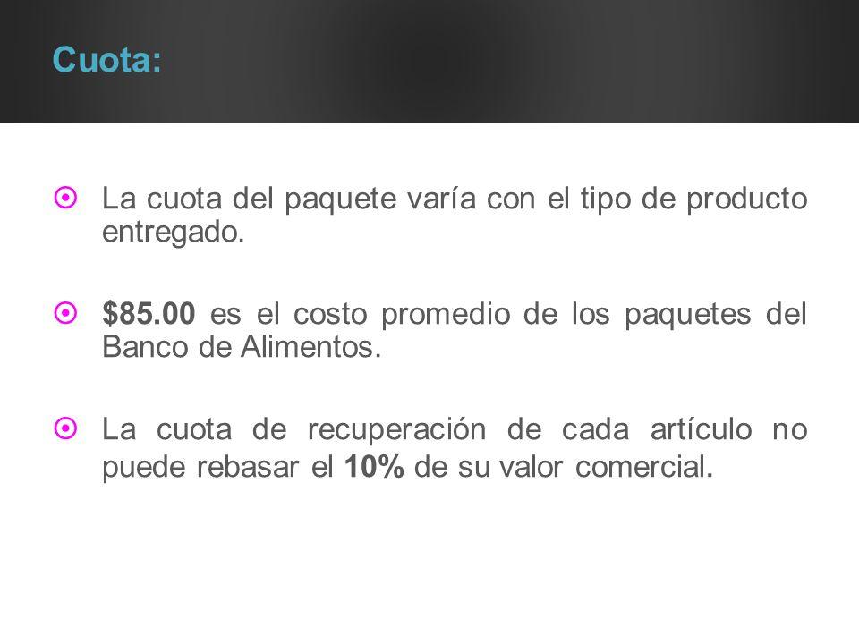 Cuota: La cuota del paquete varía con el tipo de producto entregado. $85.00 es el costo promedio de los paquetes del Banco de Alimentos. La cuota de r