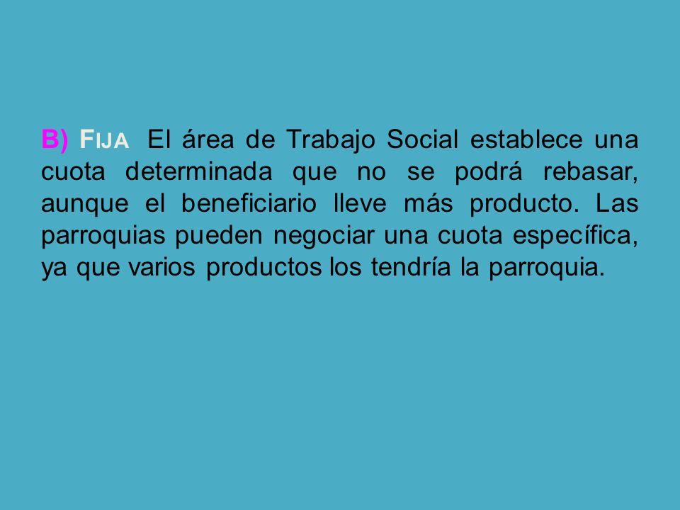 B) F IJA. El área de Trabajo Social establece una cuota determinada que no se podrá rebasar, aunque el beneficiario lleve más producto. Las parroquias
