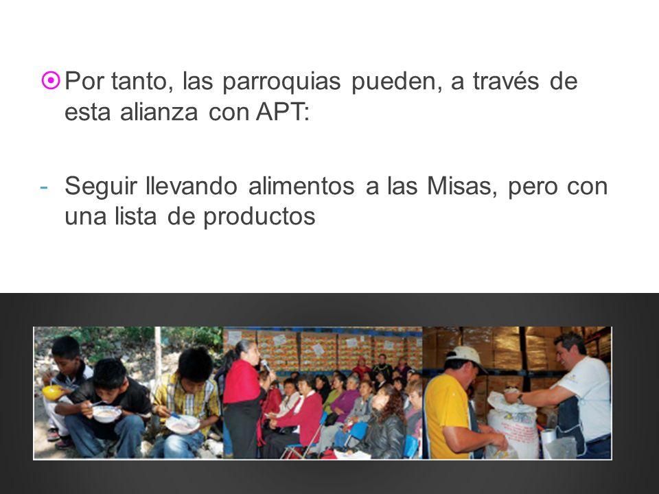 Por tanto, las parroquias pueden, a través de esta alianza con APT: -Seguir llevando alimentos a las Misas, pero con una lista de productos