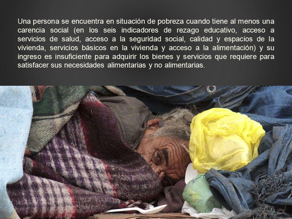 Una persona se encuentra en situación de pobreza cuando tiene al menos una carencia social (en los seis indicadores de rezago educativo, acceso a serv