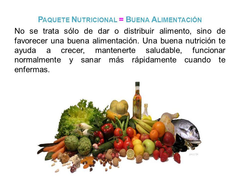 P AQUETE N UTRICIONAL = B UENA A LIMENTACIÓN No se trata sólo de dar o distribuir alimento, sino de favorecer una buena alimentación. Una buena nutric