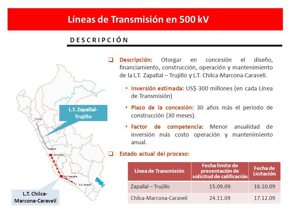 D E S C R I P C I Ó N Líneas de Transmisión en 500 kV S.E. Marcona S.E. Caravelí S.E. Chilca Trujillo Zapallal L.T. Zapallal- Trujillo L.T. Chilca- Ma