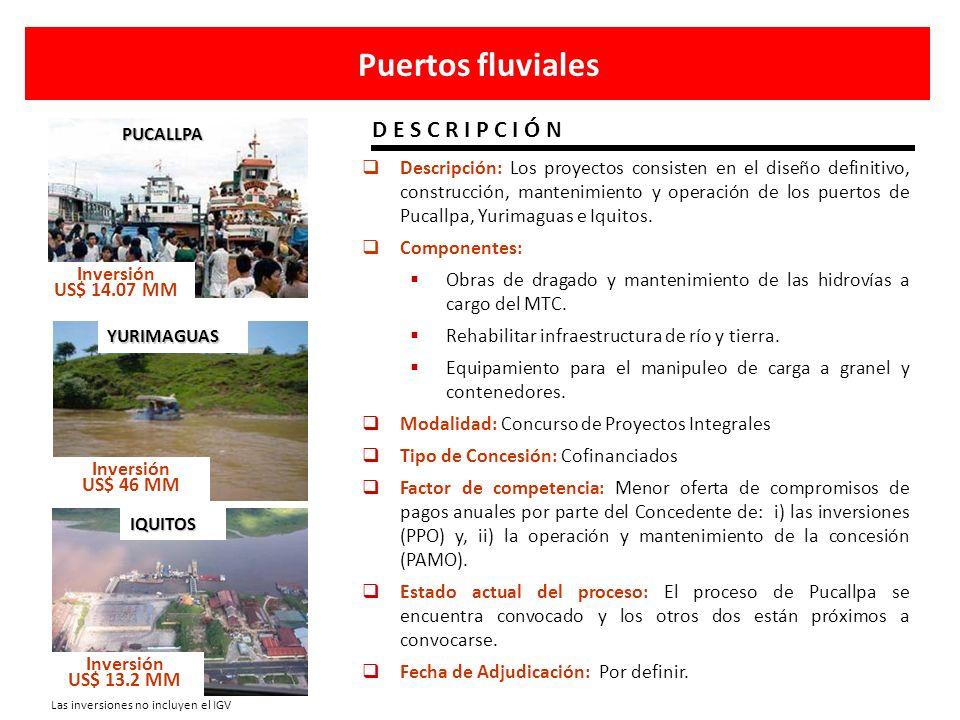 Descripción: Los proyectos consisten en el diseño definitivo, construcción, mantenimiento y operación de los puertos de Pucallpa, Yurimaguas e Iquitos