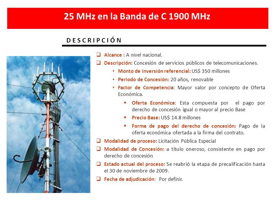 Alcance : A nivel nacional. Descripción: Concesión de servicios públicos de telecomunicaciones. Monto de inversión referencial: US$ 350 millones Perio