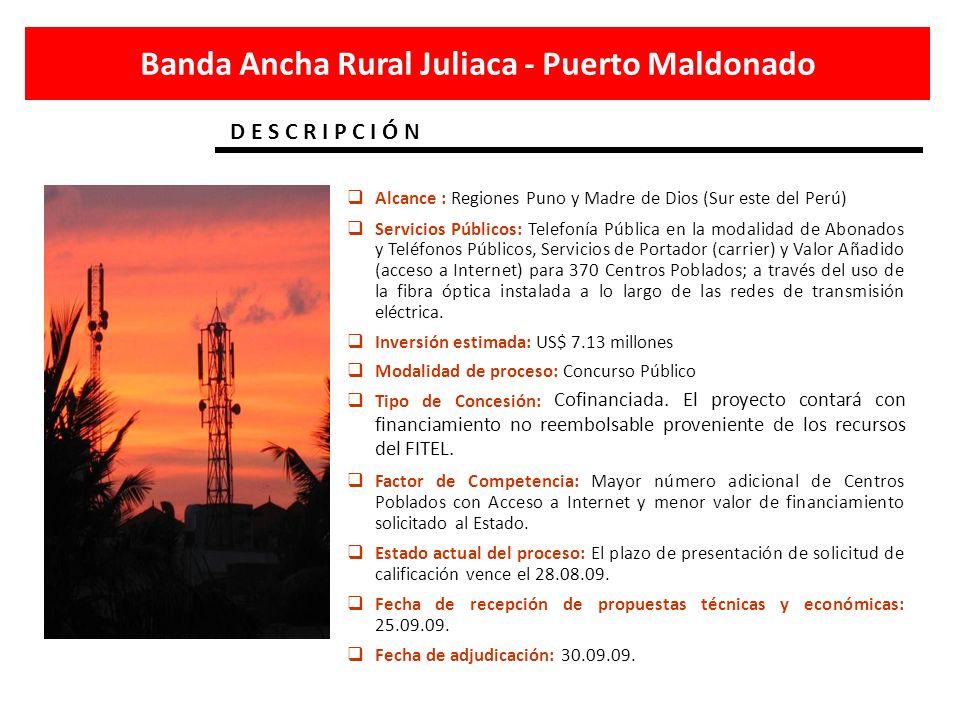 Banda ancha para el VRAE Banda Ancha Camisea - Lurín Alcance: Regiones de Lima, Ayacucho, Apurímac, Ica, Junín, Cusco y Huancavelica.