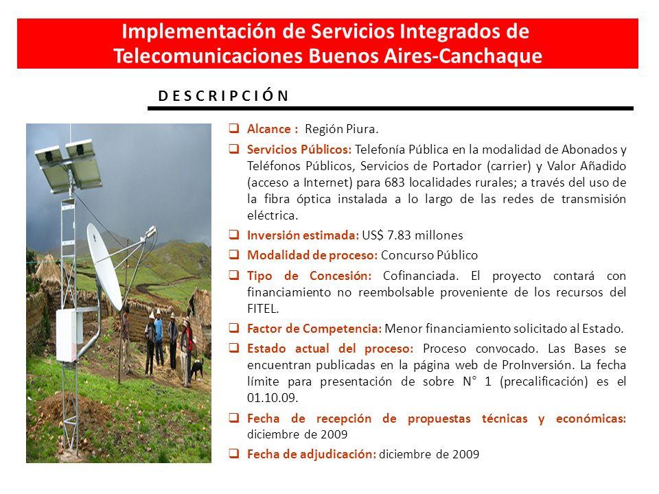 Implementación de Servicios Integrados de Telecomunicaciones Buenos Aires-Canchaque Alcance : Región Piura. Servicios Públicos: Telefonía Pública en l