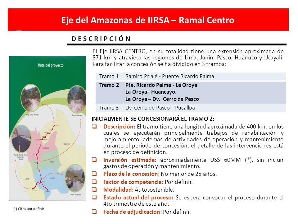 Eje del Amazonas de IIRSA – Ramal Centro D E S C R I P C I Ó N El Eje IIRSA CENTRO, en su totalidad tiene una extensión aproximada de 871 km y atravie