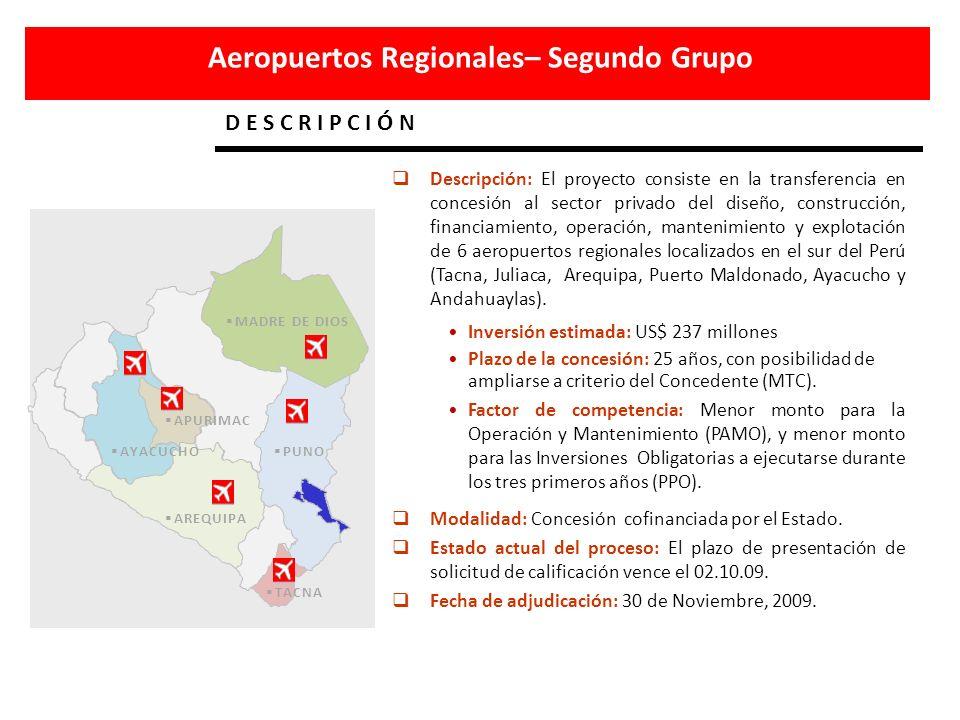 Aeropuertos Regionales– Segundo Grupo D E S C R I P C I Ó N APURIMAC AREQUIPA AYACUCHO PUNO MADRE DE DIOS TACNA Descripción: El proyecto consiste en l
