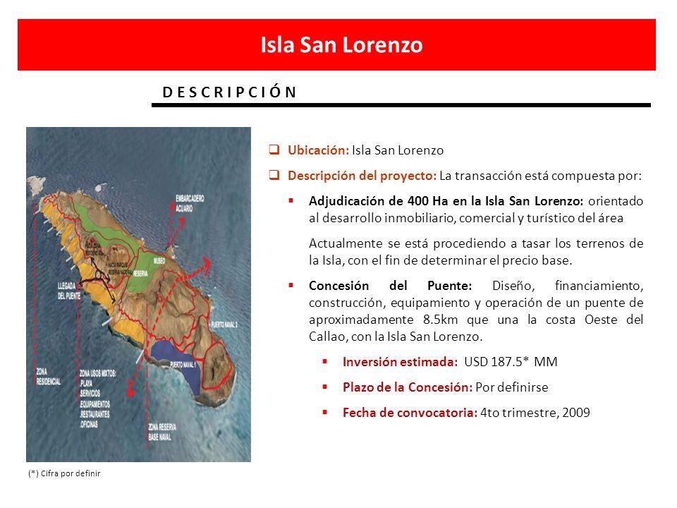 Isla San Lorenzo D E S C R I P C I Ó N Ubicación: Isla San Lorenzo Descripción del proyecto: La transacción está compuesta por: Adjudicación de 400 Ha