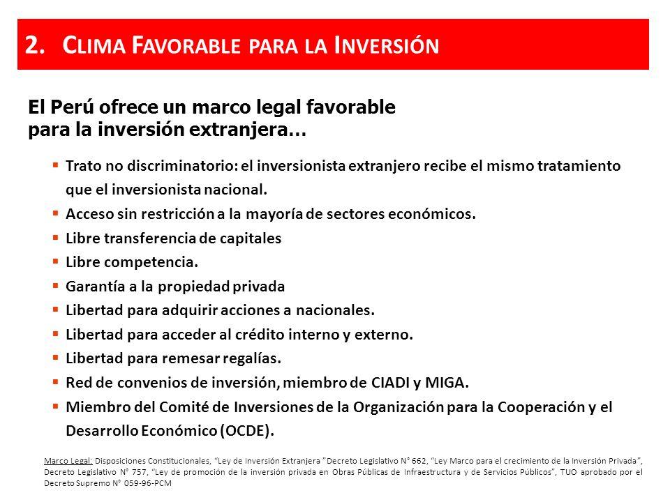 El Perú ofrece un marco legal favorable para la inversión extranjera… Marco Legal: Disposiciones Constitucionales, Ley de Inversión Extranjera Decreto