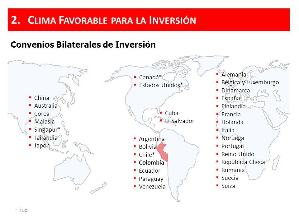 C ONVENIOS DE E STABILIDAD J URÍDICA Requisito: Invertir mínimo US$ 5 MM y US$ 10 MM en los casos de minería e hidrocarburos.