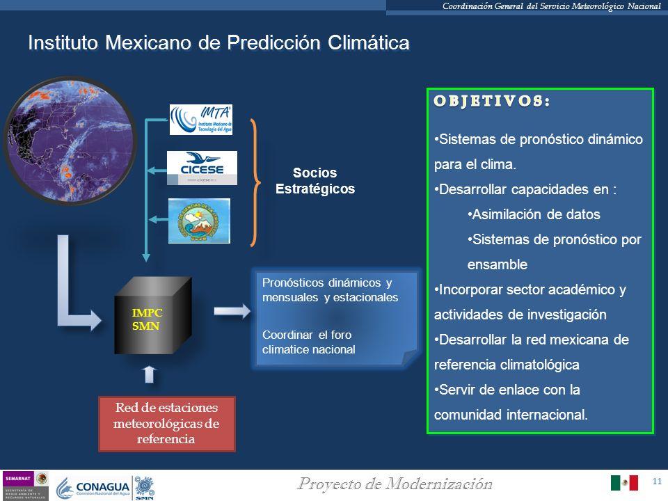 11 Proyecto de Modernización Coordinación General del Servicio Meteorológico Nacional Instituto Mexicano de Predicción Climática IMPC SMN Socios Estra
