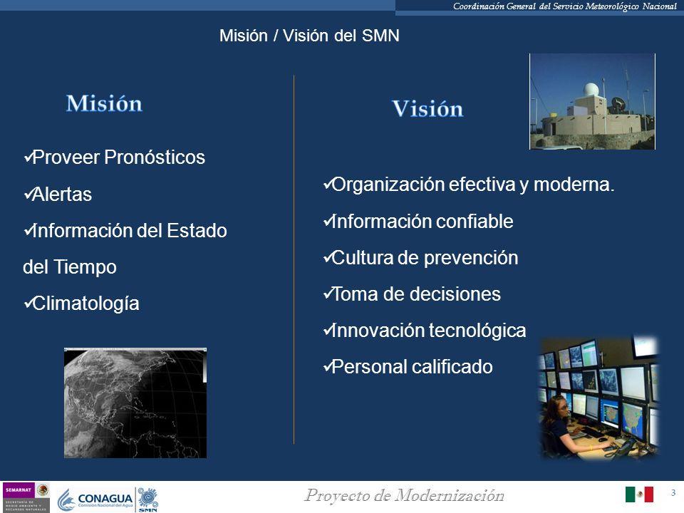 3 Proyecto de Modernización Coordinación General del Servicio Meteorológico Nacional Organización efectiva y moderna. Información confiable Cultura de