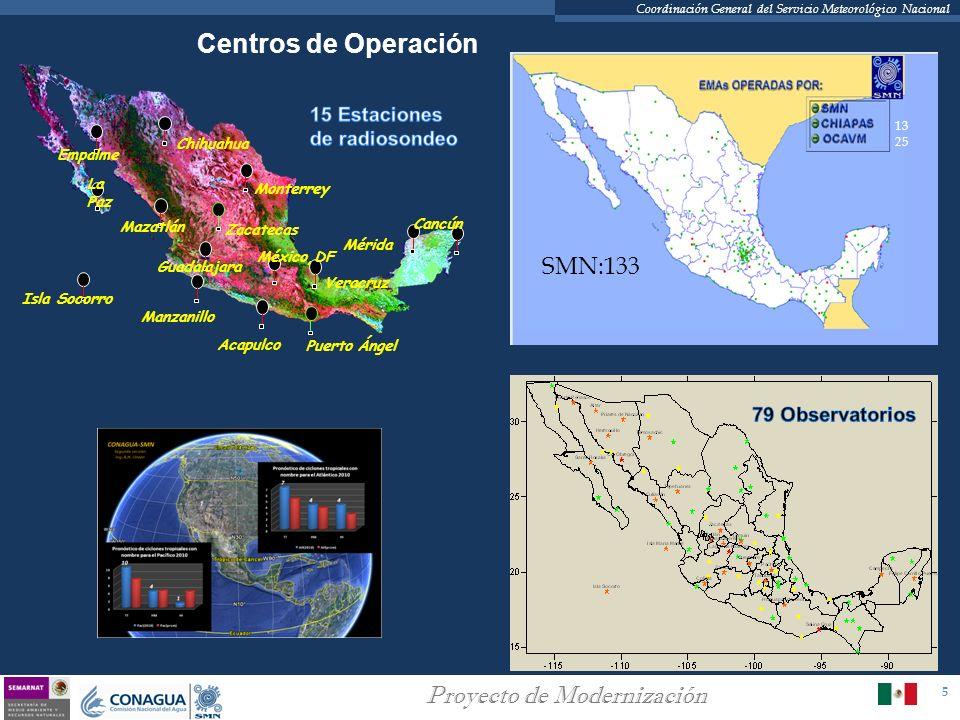 5 Proyecto de Modernización Coordinación General del Servicio Meteorológico Nacional Centros de Operación Mérida Cancún Veracruz México,DF Monterrey C