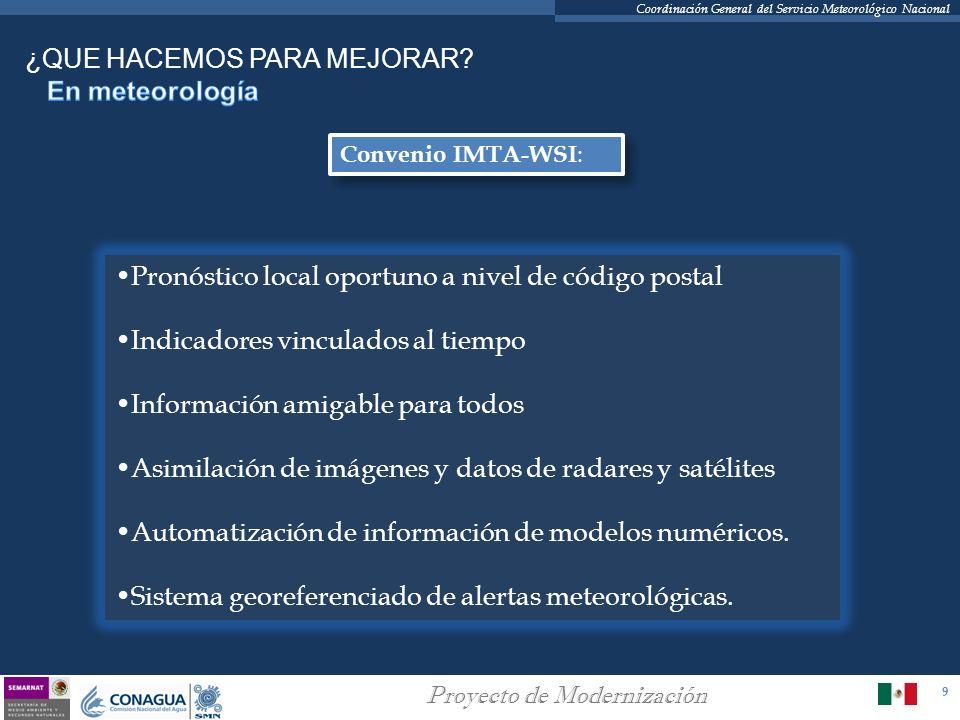 9 Proyecto de Modernización Coordinación General del Servicio Meteorológico Nacional Convenio IMTA-WSI : Pronóstico local oportuno a nivel de código p
