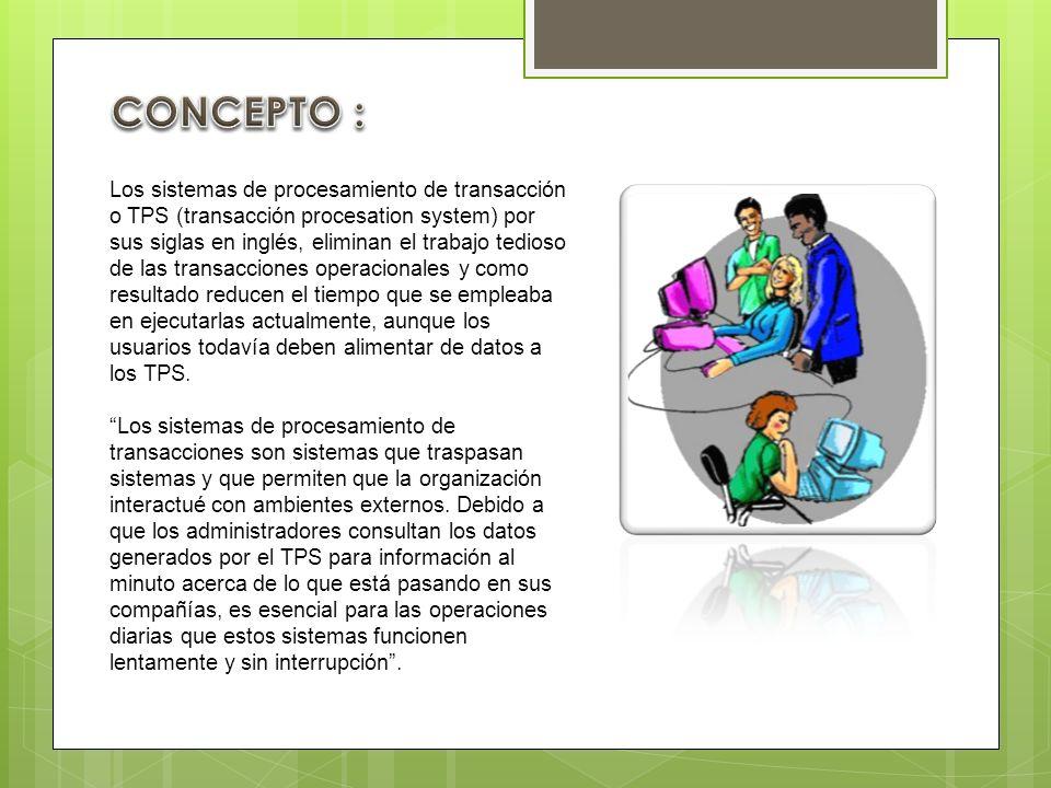 Los sistemas de procesamiento de transacción o TPS (transacción procesation system) por sus siglas en inglés, eliminan el trabajo tedioso de las trans