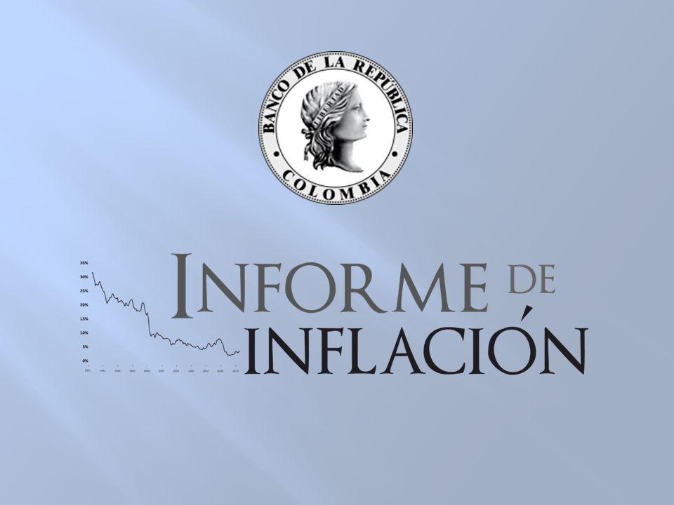 Inflación anual al consumidor e inflación sin alimentos (Porcentaje) Fuente: DANE.