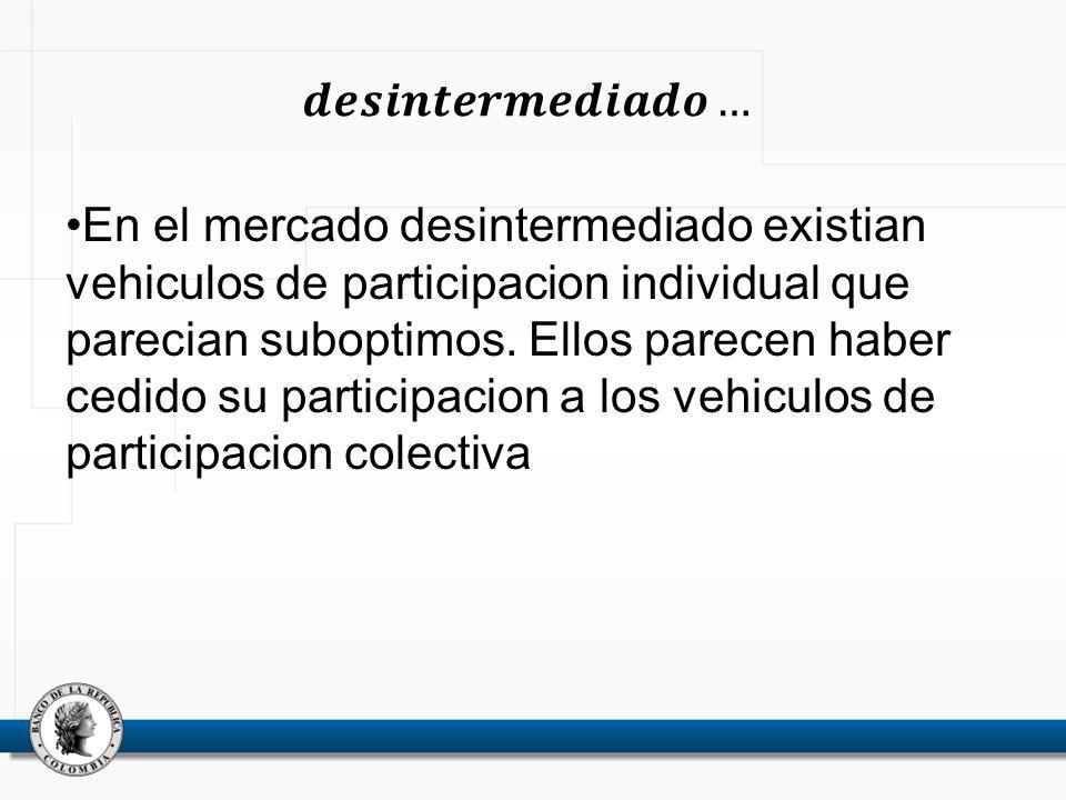 En el mercado desintermediado existian vehiculos de participacion individual que parecian suboptimos.