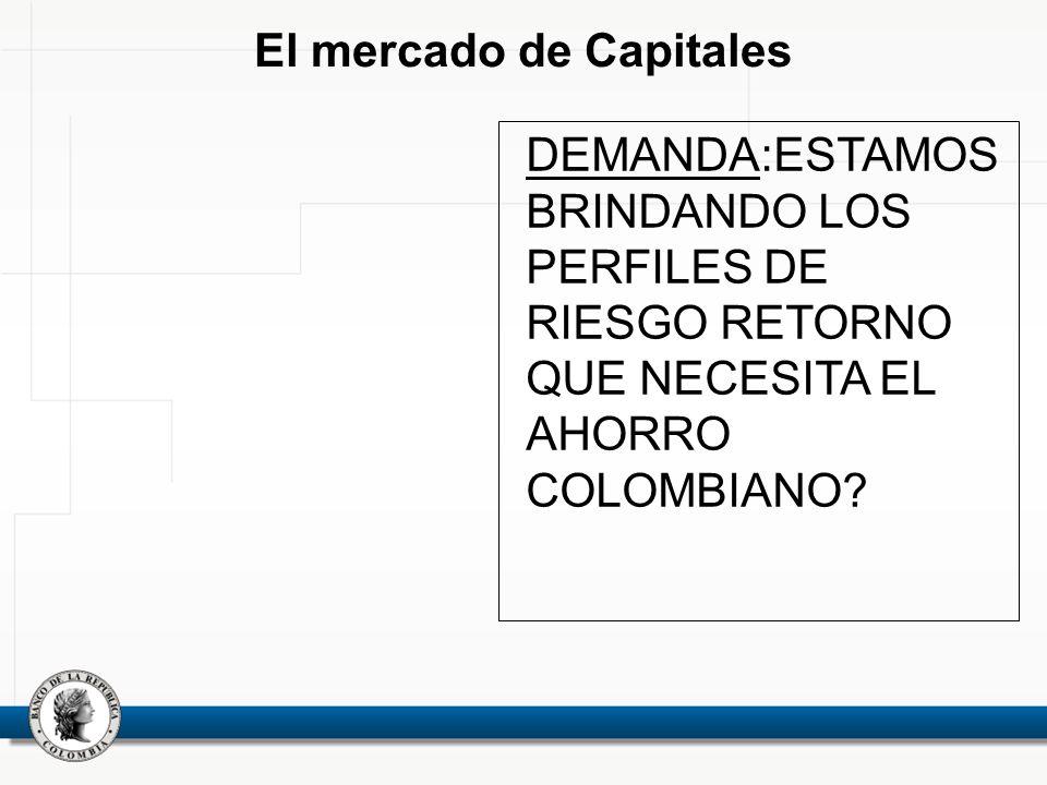 El mercado de Capitales DEMANDA:ESTAMOS BRINDANDO LOS PERFILES DE RIESGO RETORNO QUE NECESITA EL AHORRO COLOMBIANO