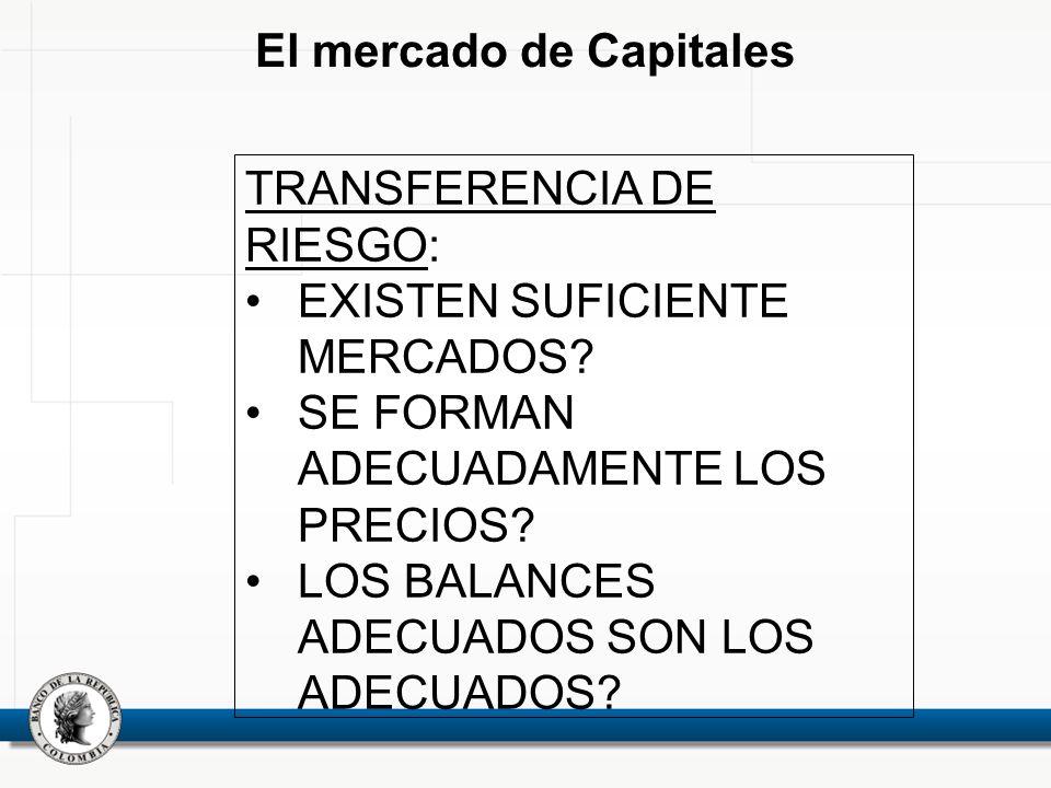 El mercado de Capitales TRANSFERENCIA DE RIESGO: EXISTEN SUFICIENTE MERCADOS.
