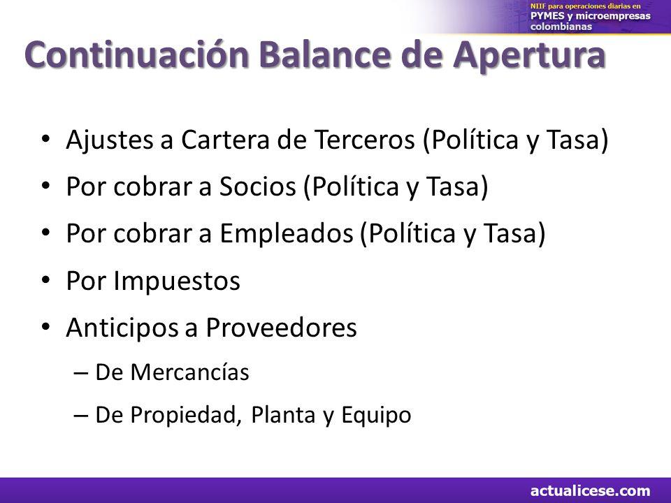 Ajustes a Cartera de Terceros (Política y Tasa) Por cobrar a Socios (Política y Tasa) Por cobrar a Empleados (Política y Tasa) Por Impuestos Anticipos