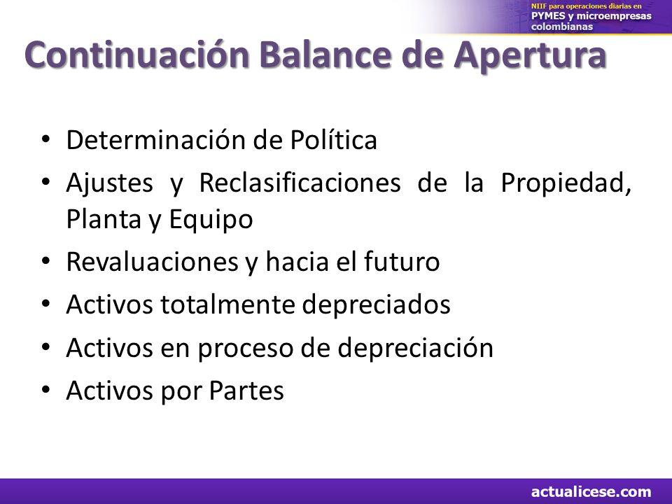 Determinación de Política Ajustes y Reclasificaciones de la Propiedad, Planta y Equipo Revaluaciones y hacia el futuro Activos totalmente depreciados