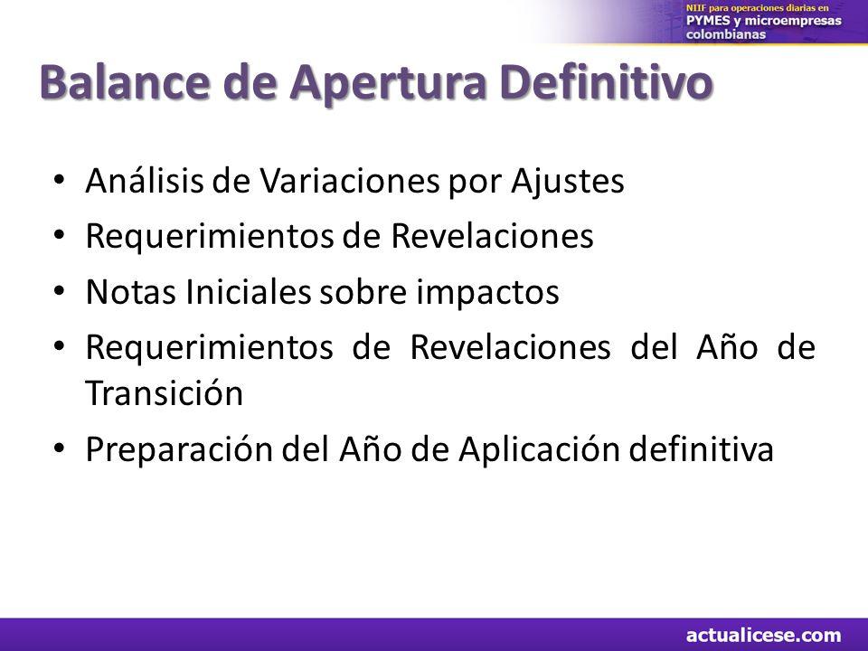 Balance de Apertura Definitivo Análisis de Variaciones por Ajustes Requerimientos de Revelaciones Notas Iniciales sobre impactos Requerimientos de Rev