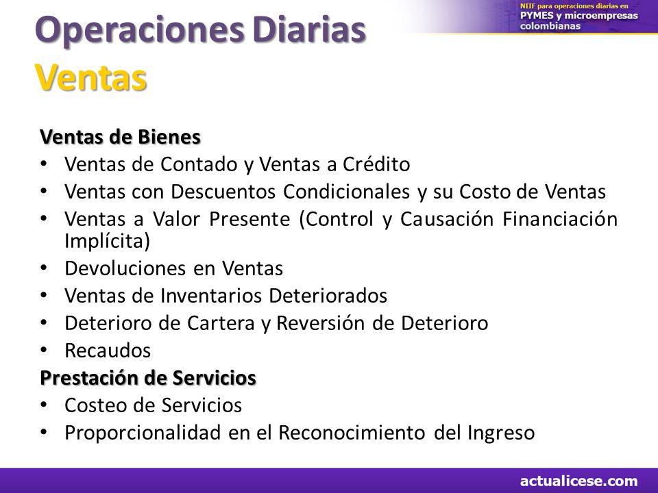 Operaciones Diarias Ventas Ventas de Bienes Ventas de Contado y Ventas a Crédito Ventas con Descuentos Condicionales y su Costo de Ventas Ventas a Val