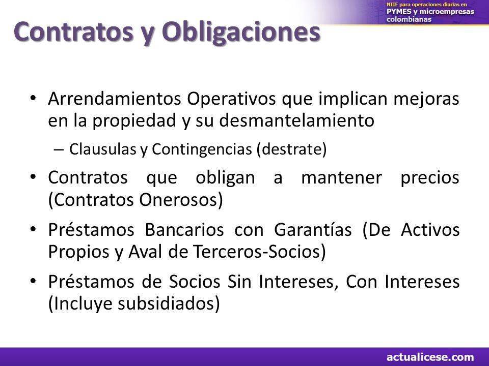 Contratos y Obligaciones Arrendamientos Operativos que implican mejoras en la propiedad y su desmantelamiento – Clausulas y Contingencias (destrate) C