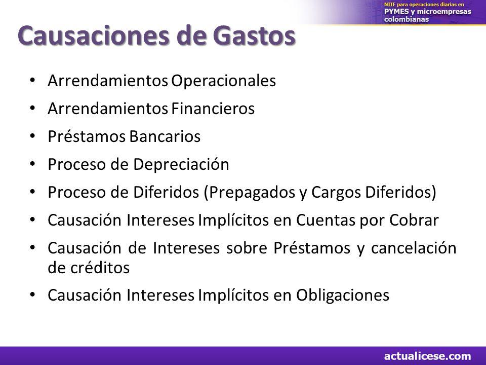 Causaciones de Gastos Arrendamientos Operacionales Arrendamientos Financieros Préstamos Bancarios Proceso de Depreciación Proceso de Diferidos (Prepag