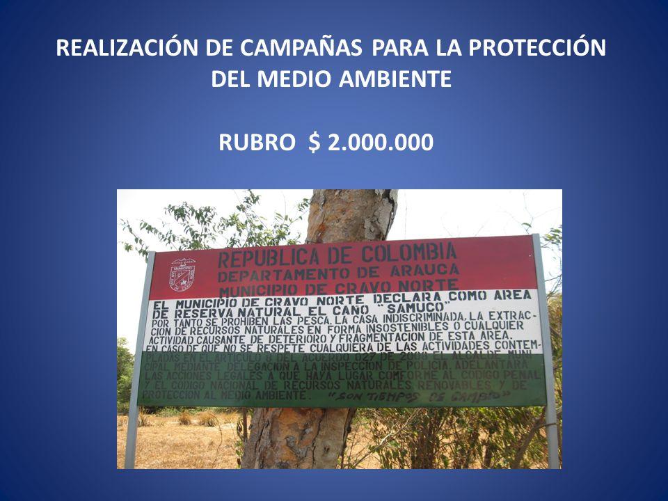 REALIZACIÓN DE CAMPAÑAS PARA LA PROTECCIÓN DEL MEDIO AMBIENTE RUBRO $ 2.000.000