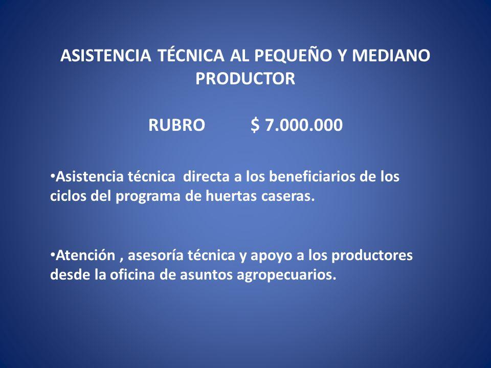 ASISTENCIA TÉCNICA AL PEQUEÑO Y MEDIANO PRODUCTOR Asistencia técnica directa a los beneficiarios de los ciclos del programa de huertas caseras. Atenci