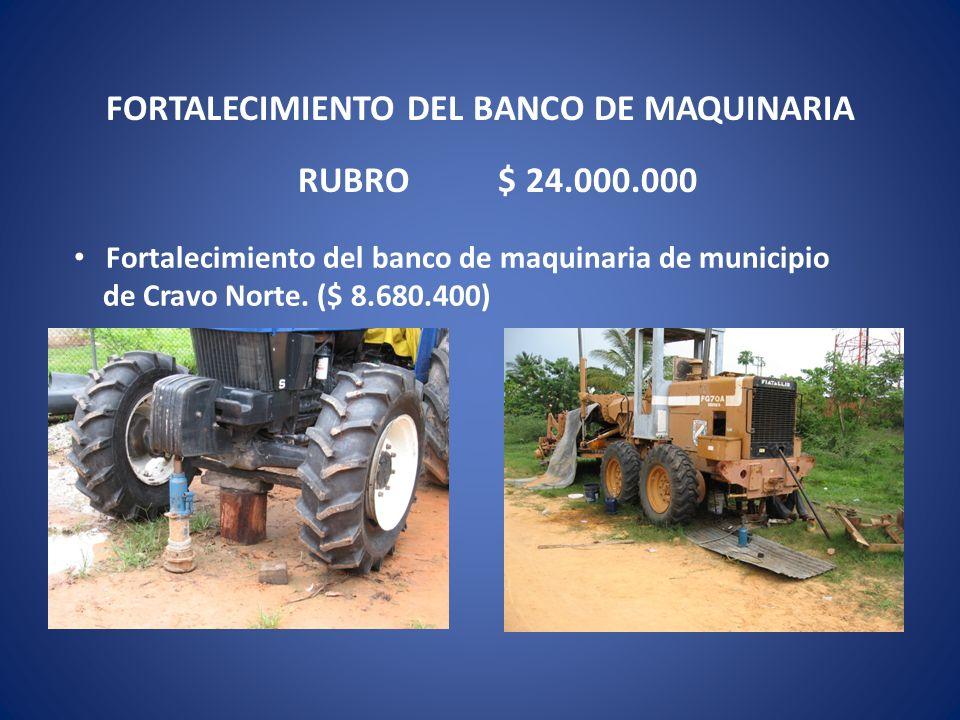 FORTALECIMIENTO DEL BANCO DE MAQUINARIA Fortalecimiento del banco de maquinaria de municipio de Cravo Norte. ($ 8.680.400) RUBRO $ 24.000.000