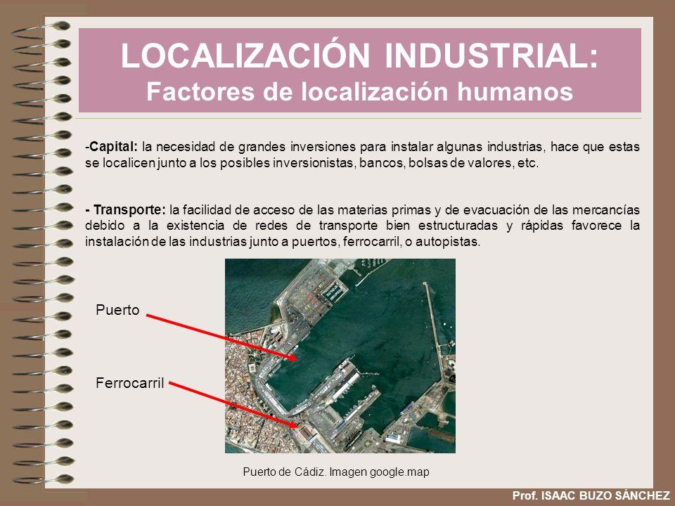 LOCALIZACIÓN INDUSTRIAL: Factores de localización humanos Prof. ISAAC BUZO SÁNCHEZ -Capital: la necesidad de grandes inversiones para instalar algunas