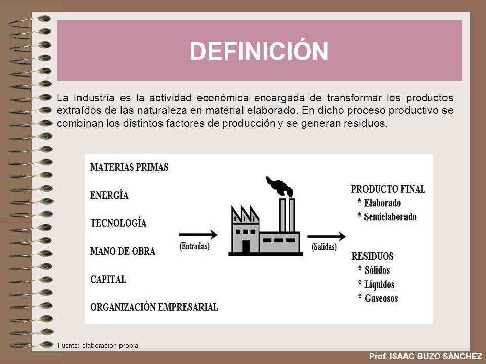 DEFINICIÓN Prof. ISAAC BUZO SÁNCHEZ La industria es la actividad económica encargada de transformar los productos extraídos de las naturaleza en mater