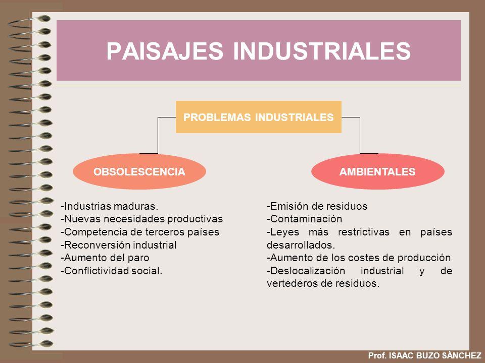 PAISAJES INDUSTRIALES Prof. ISAAC BUZO SÁNCHEZ PROBLEMAS INDUSTRIALES OBSOLESCENCIAAMBIENTALES -Industrias maduras. -Nuevas necesidades productivas -C