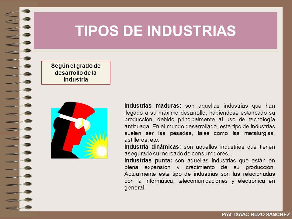 TIPOS DE INDUSTRIAS Prof. ISAAC BUZO SÁNCHEZ Según el grado de desarrollo de la industria Industrias maduras: son aquellas industrias que han llegado